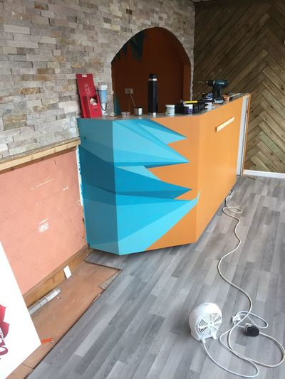 Current project at the Alishaan Indian takeaway. Point design on counter