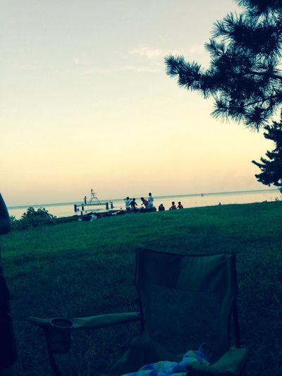 At the lake Swimming