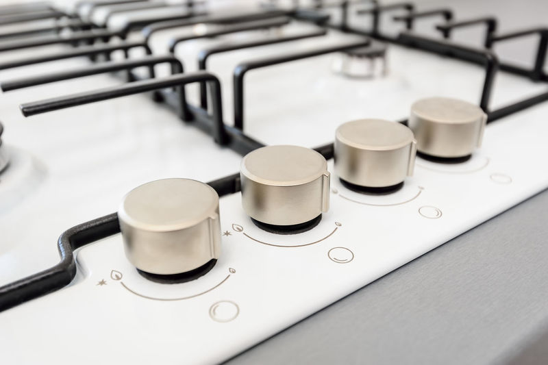modern gas stove closeup Modern New Appliance Black Blackandwhite Clean Close-up Closeup Gas Stove Gas Stove Burner Indoors  Kitchen No People White