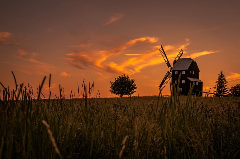 Scenic view of farm and windmill against sky during sunset