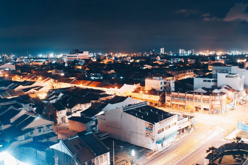 EyeEmNewHere Building Exterior Architecture City Built Structure Sky Outdoors High Angle View Illuminated Night No People Cloud - Sky Transportation Cityscape Nature
