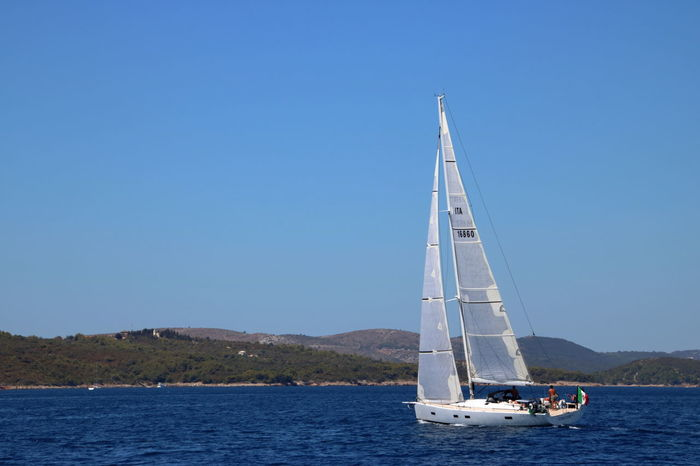 Croatia Blue Clear Sky Day Italy🇮🇹 Mode Of Transport Mountain Nature Nautical Vessel No People Outdoors Sailboat Sailing Sailing Holiday Sea Sky Transportation Water Waterfront Yachting Sailing Ship