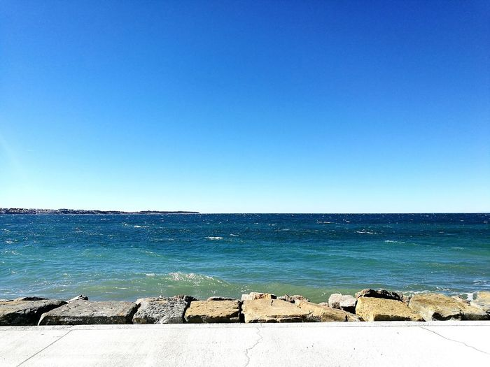 Bay of Piran Sea Beach Clear Sky Blue Water Horizon Over Water First Eyeem Photo