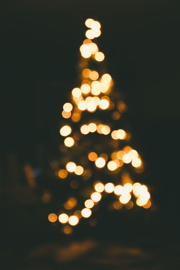 Defocused image of illuminated christmas tree at night