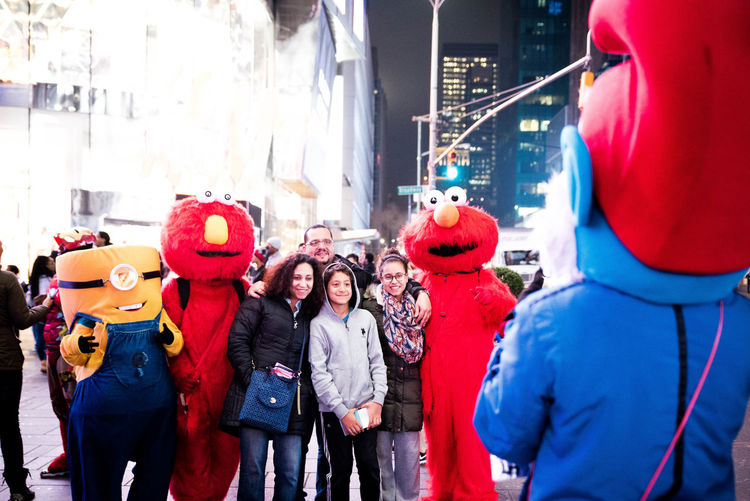 Time Square is taken over by costumed characters. City City Life Costume Elmo Eye Em Best Shots Eye4photography  Landmark Minion  Night Life. NY Smurf Taking Photos Taking Photos Of Taking Photos Time Square Tourism Tourist Tourists Cities At Night On The Way