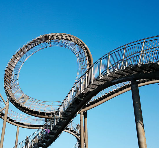 Sky Clear Sky Architecture Blue Built Structure Low Angle View Nature Day Metal Outdoors Rollercoaster Railing Sunlight Amusement Park Copy Space Amusement Park Ride Excitement Directly Below Blue Sky Blauer Himmel Picoftheday Photooftheday