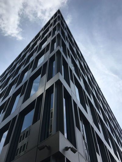 Our new office building in Münster Low Angle View Cloud - Sky Building Exterior Architecture Built Structure Building Sky Day Window No People Office Building Exterior Modern Geometric Shape Glass - Material Shape