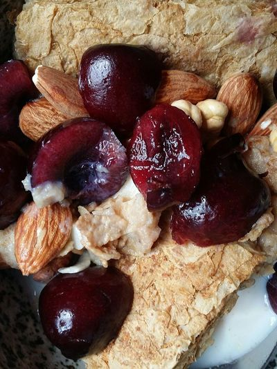 Trying to eat healthily Weetabix  Granola Almonds Chickpeas Cherries Breakfast Sunday Food Foodphotography Singapore
