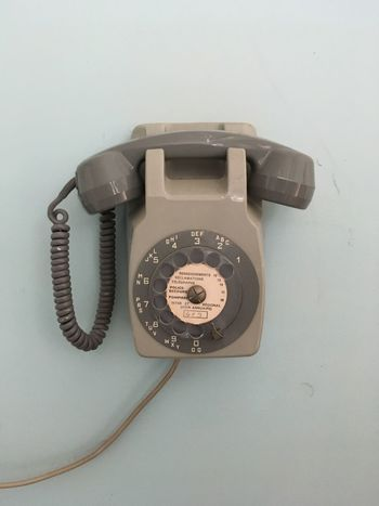 Vintage telephone Old-fashioned Retro Styled Communication Connection Telephone Indoors  Close-up Rotary Phone White Background No People Telephone Receiver Technology Day