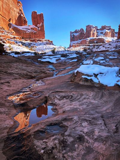 Aerial view of snow covered rock formations