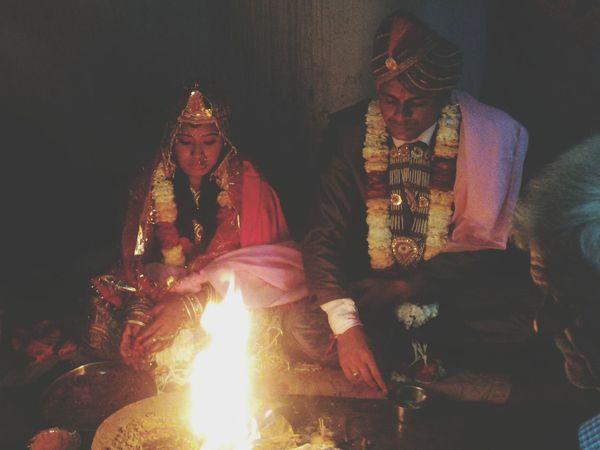 Indian Marriage Bride And Groom Indian People Customs Wedding Marriage  Fire Hawan Kund Mandap
