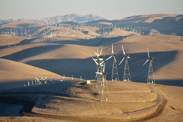 Alternative Energy Arid Landscape California California Sunset Day Environmental Conservation Fuel And Power Generation Golden Hills Mountain Nature No People Outdoors Renewable Energy Wind Power Wind Turbine