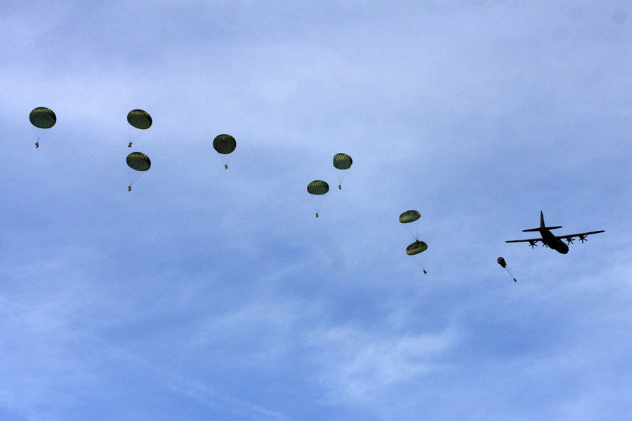 Flying Low Angle View Military Exercise NATO Parachute Battalion Parachute In The Sky Parachute Jump Team Parachutes Parachutes In Formation Paratroopers Sky Traverse