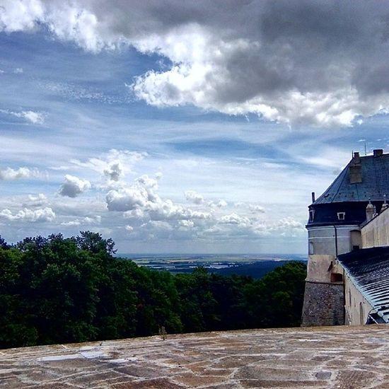 View from Hrad CervenyKamen Castle Slovakia. sky clouds trees insta_svk