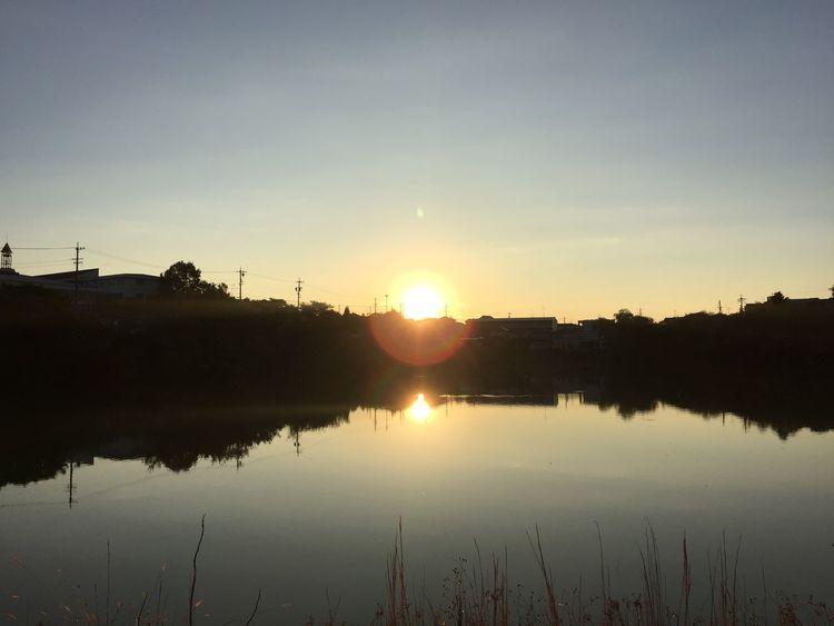 反射した朝陽 朝陽 朝日 Sunrise 太陽 Sun 反射 Reflection 空 Sky 池