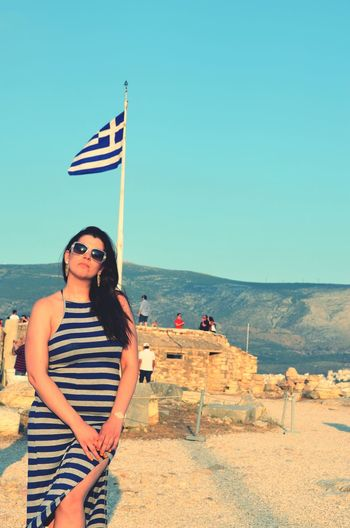 GREECE ♥♥ Acropolis, Athens Greek Flag Young Women
