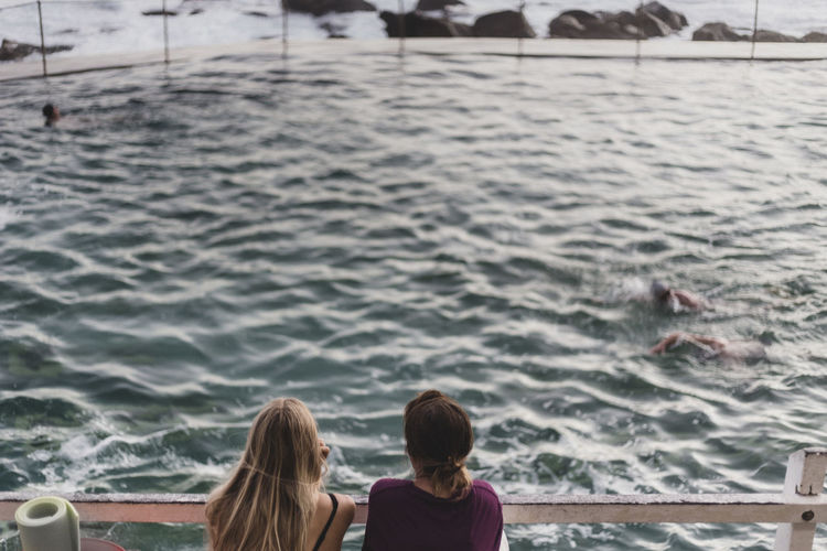 High angle view of women against swimming pool