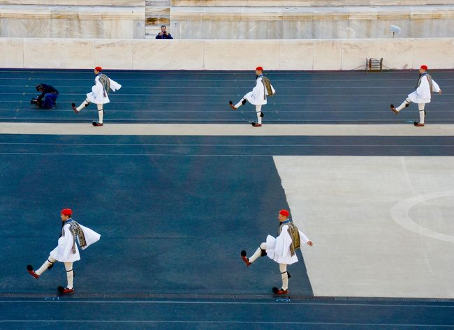 Athens, Greece Olympic Flame Olympic Stadium Parade Sport Stadium Traditional Greek Guards Transfer To Sotchi
