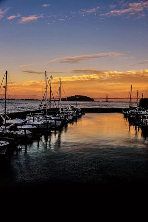 San fran Sunset Sky Sea Tranquility Nature Reflection Water Cloud - Sky Transportation Outdoors Harbor The Great Outdoors - 2017 EyeEm Awards Live For The Story