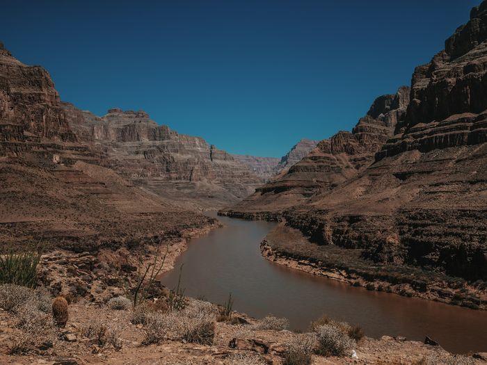 Blue Skies Arizona Blue Sky Canyon Colorado River Desert Grand Canyon Landscape Mountain Panoramic River Rock - Object Sky