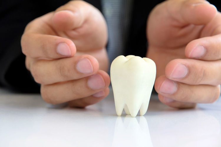 Cropped hand of man by dentures on table