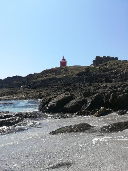 Red Lighthouse No Filter The Traveler - 2018 EyeEm Awards Politics And Government Clear Sky Sea Water Beach Blue Sky Architecture Building Exterior Lighthouse Guidance Rocky Coastline Boulder Rugged Coast Shore Horizon Over Water Sand Dune Sandy Beach Calm