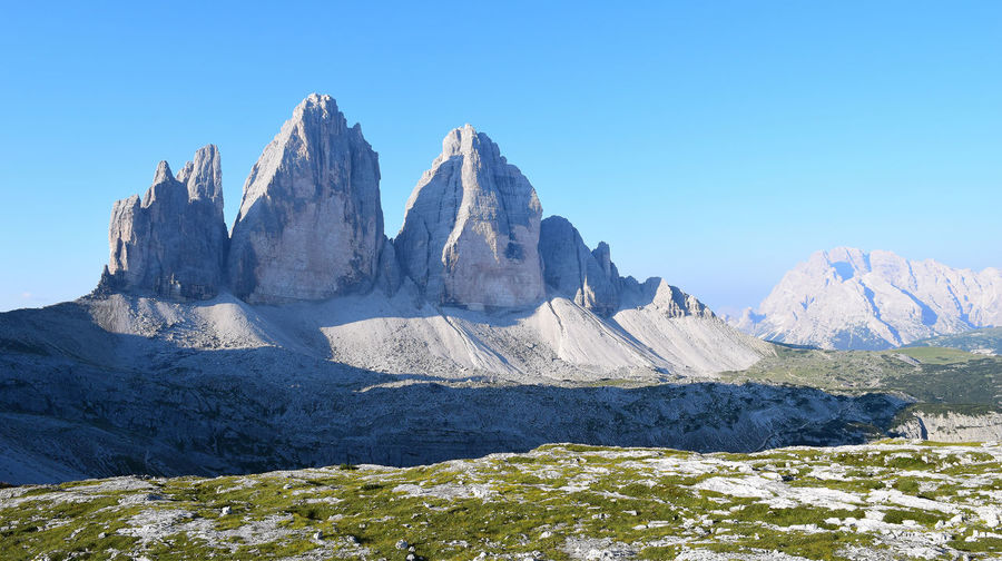 Mountains Against Clear Blue Sky At Dolomites