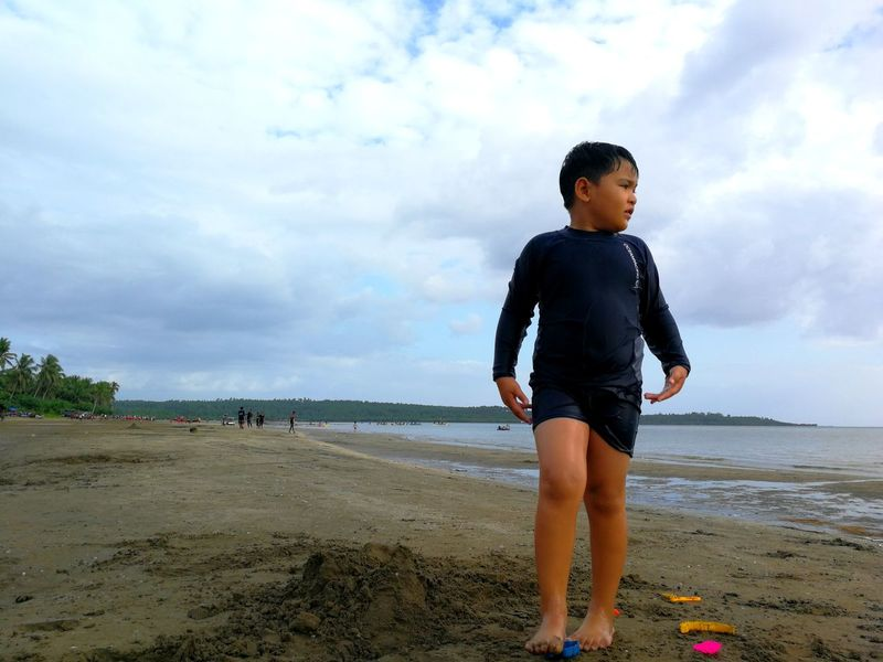 start of fun on the shore.... EyeEm Selects Water Child Sea Full Length Childhood Beach Standing Sand Happiness Wave