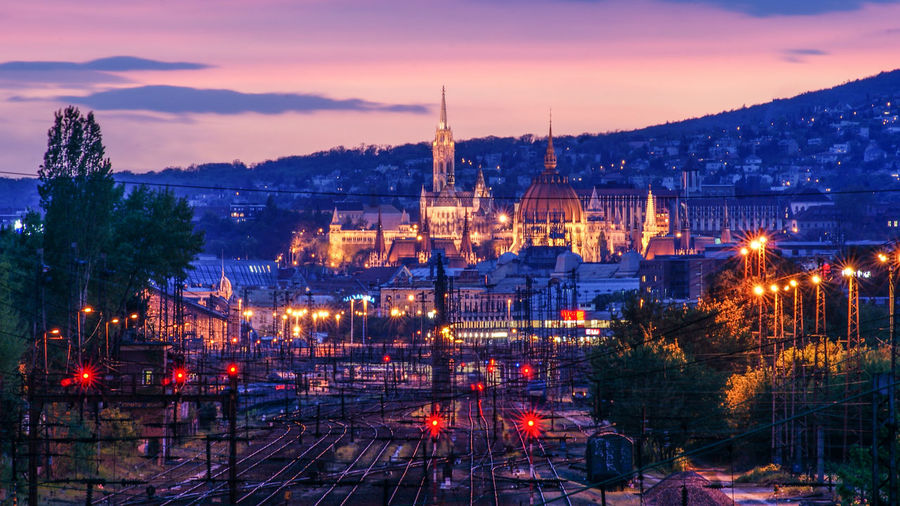Budapest City Hungary Long Exposure Nyugati Orange Color Sky Sunset Train Train Station First Eyeem Photo