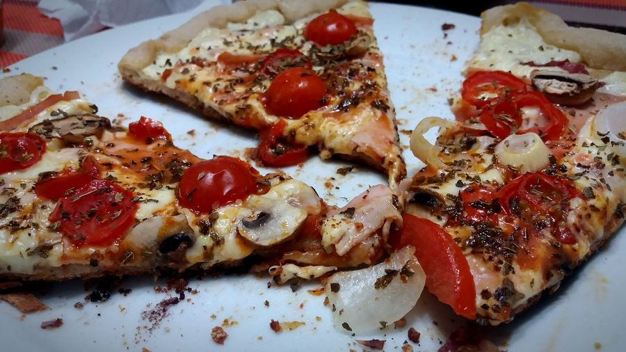 Close-up of pizza slices in plate