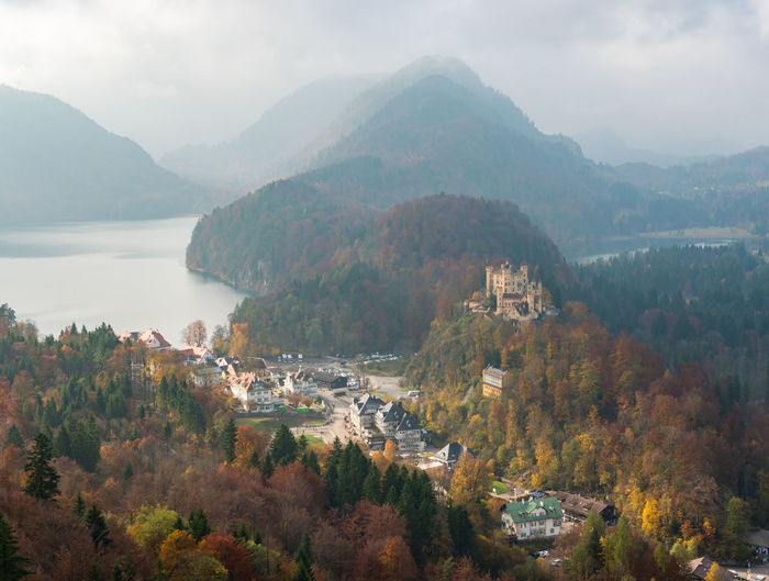 Hohenschwangau Castle with Autumn colors, Fussen, Germany Tree Mountain Scenics - Nature Architecture Plant Beauty In Nature Nature Built Structure Building Exterior No People Water Tranquil Scene Sky Day Tranquility Building High Angle View Autumn Mountain Range Change Outdoors TOWNSCAPE