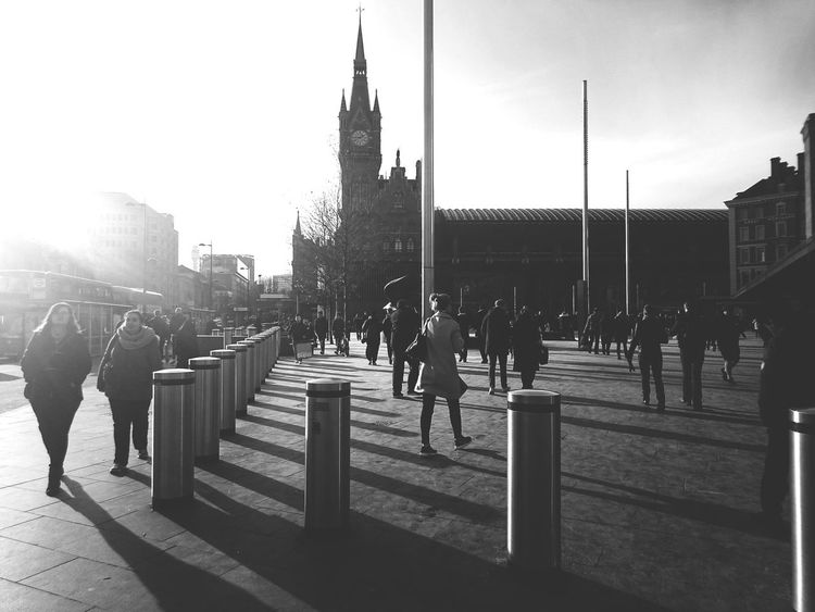 Just Ldn. London Stpancras Blackandwhite High Contrast Tower Busy Rushing People Everyday Life