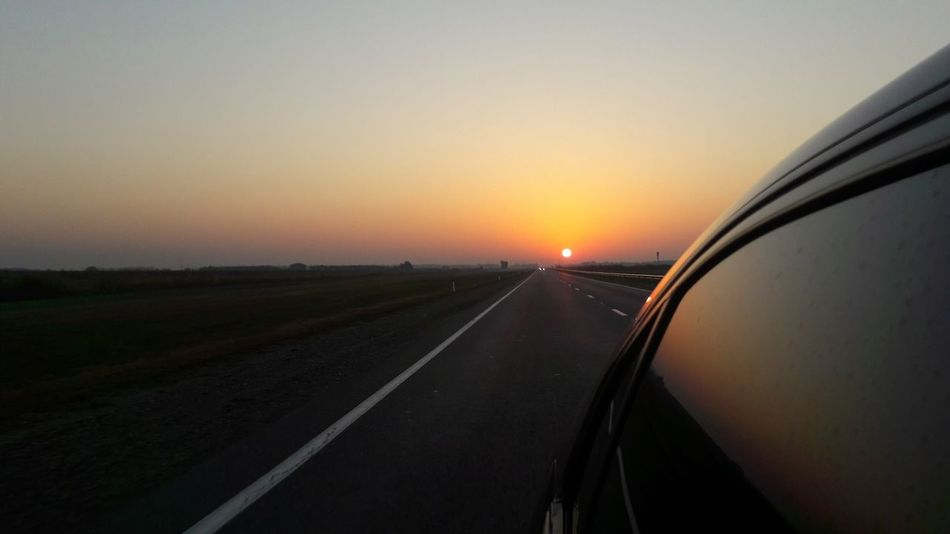 Sunset Transportation Travel Highway Road Car Mode Of Transport No People The Way Forward Sky Outdoors City Clear Sky Day Nature мобильная фотография Россия