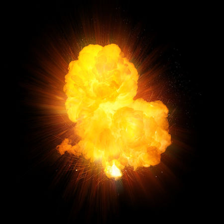 Realistic fire explosion, orange blast with sparks isolated on black background Burning Cloud Explosion Fireball Fireworks Orange Atomic Bomb Blast Exploding Explosive Fiery Fire Heat Mushroom Napalm Realistic Sparks Sparks Fly