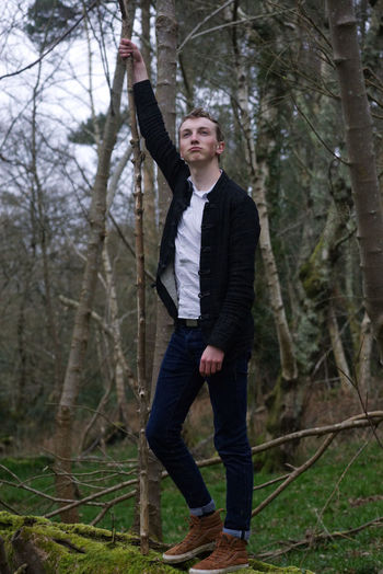 Byworth Woods Arms Raised Casual Clothing Clothing Day Forest Front View Full Length Human Arm Land Leisure Activity Lifestyles Looking Nature One Person Outdoors Plant Portrait Standing Tree Tree Trunk Trunk WoodLand