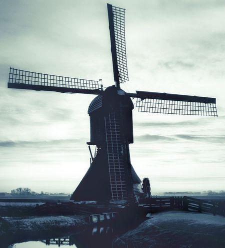 Windmill Dutch Blackandwhite Oldschool