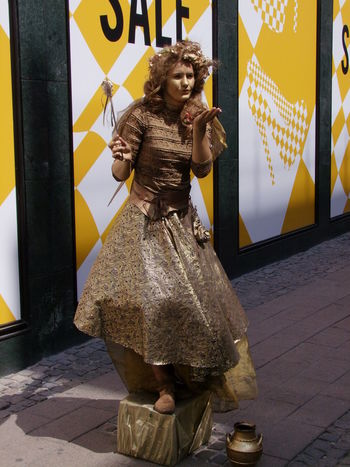 Golden Girl! Art Blowing A Kiss Capital City Casual Clothing Composition Copenhagen Creativity Denmark Fairy Full Frame Fun Gold Colour Golden Girl Leisure Activity Lifestyles Looking At Camera Making A Living Outdoor Photography Street Performer Sunlight And Shadow Tourism Tourist Attraction  Tourist Destination Unusual Woman