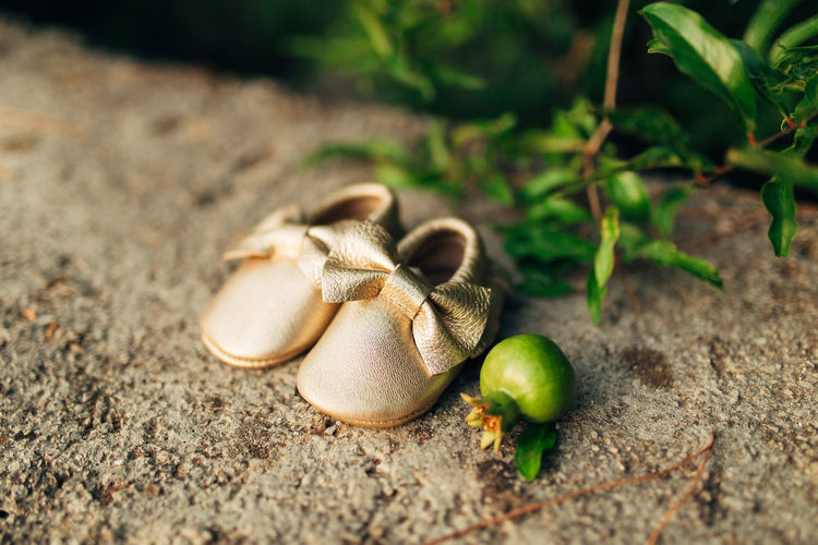 High angle view of baby booties on ground