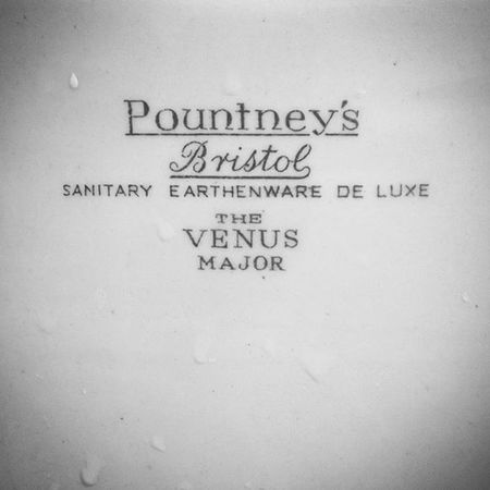 Lovelovelove the detail in this Vintage sink in our Friends Bristol Home . Just because it's *only* a basin doesn't mean the Branding has to be Boring right? Traditional Signwriting Monochrome Porcelain  Pountneys Gorgeous Devilisinthedetails Venus Major