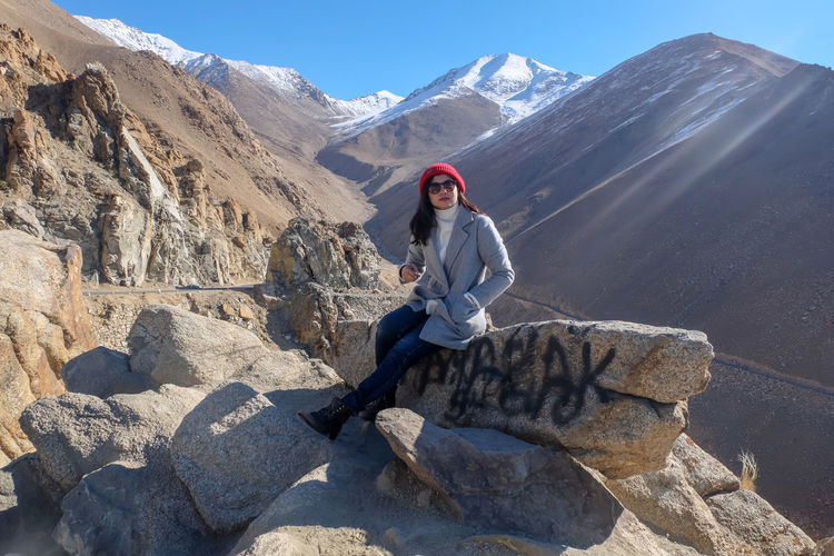 Leh Ladakh October autumn mood Cold Temperature Beauty In Nature Sky Mountain Young Women