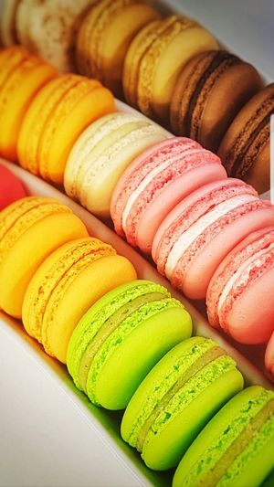 High angle view of multi colored macaroons
