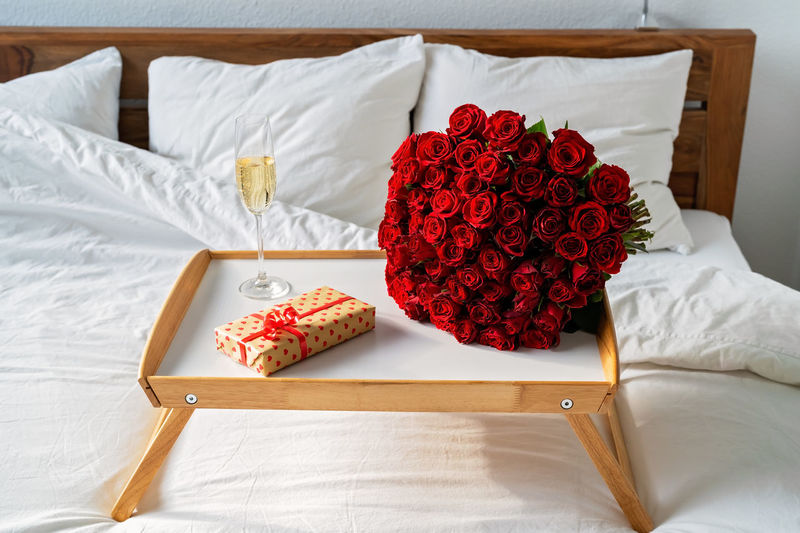 High angle view of rose bouquet on table