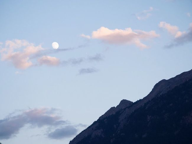 Sky Cloud - Sky Beauty In Nature Nature Low Angle View Moon Mountain Scenics Outdoors No People Tranquility Day Crescent Astronomy