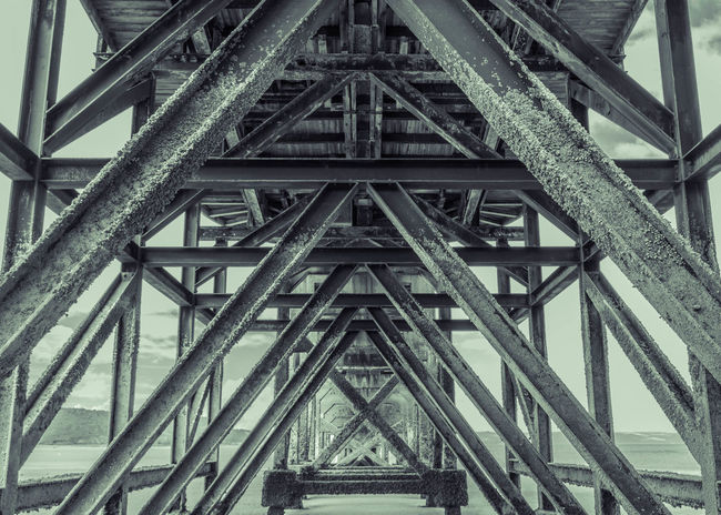 Lifeboat Launch Lifeboat Low Angle View Metal Built Structure Architecture Bridge - Man Made Structure Underneath No People Outdoors Girder Pattern