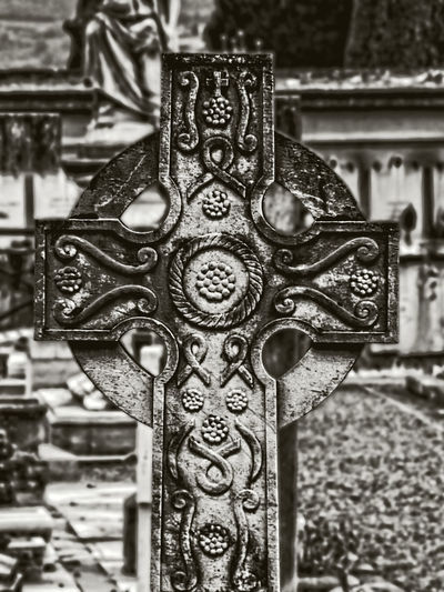 Art And Craft Black And White Cemetery Close-up Cross Day No People Outdoors