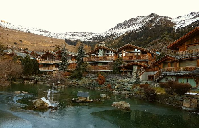 Chalet Mountain Mountainlife Photography Picoftheday Luxery Destination Home House Lake Water Wet Day Outdoors No People Architecture Nature Building Exterior Sky Snow Ice Freeze Verbier Switzerland Alps Mountain Range Mountain View Mountain Peak Beauty In Nature