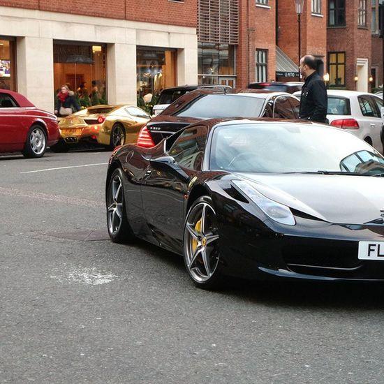 Ferrari 458 Italia Gold Rr Rolls Royce Phantom Drophead Combo Londoncars London Sunday Carspotting