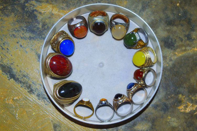 No People High Angle View Indoors  Close-up Day Jewelry ArtWork Handmade Stone Akik Agate Agate Stone Ring Rings Multi Colored Gem Gems Gemstones Gemstone