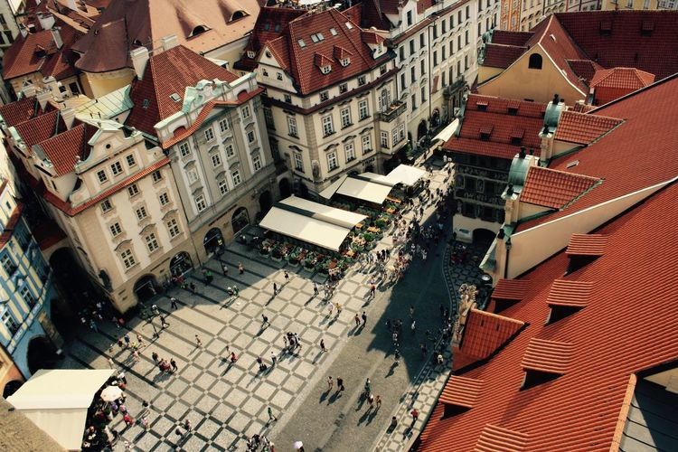 High angle view of buildings in prague