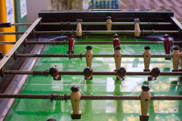 High angle view of fussball